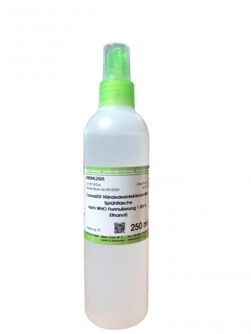 CoronaXX handrub solution according to WHO formulation 1 (80 % Ethanol)